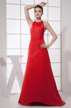 Sexy A-line Halter Sleeveless Backless Brush Train Prom Dresses