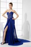 Gorgeous Column Sweetheart Sleeveless Chiffon Court Train Prom Dresses