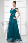 Modest A-line V-neck Buttons Ankle Length Paillette Evening Dresses