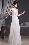 Modest Hall Asymmetric Neckline Sleeveless Chiffon Floor Length Bridal Gowns