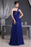 Modest One Shoulder Backless Chiffon Ruching Evening Dresses