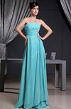 Gorgeous A-line Strapless Zip up Floor Length Ruching Evening Dresses
