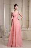 Casual Thick Straps Sleeveless Chiffon Floor Length Beading Graduation Dresses