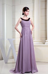 Simple A-line Sleeveless Chiffon Brush Train Ruching Bridesmaid Dresses