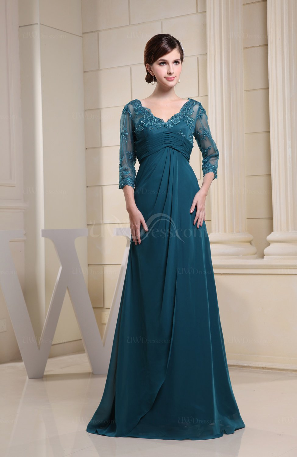 Elegant 3 4 Length Sleeve Zipper Floor Length Ruching