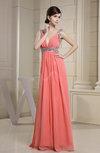 Modern Empire Sleeveless Chiffon Floor Length Paillette Prom Dresses
