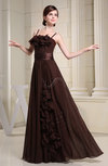 Romantic Spaghetti Sleeveless Zip up Chiffon Party Dresses