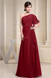 Plain A-line Short Sleeve Half Backless Floor Length Ruffles Bridesmaid Dresses