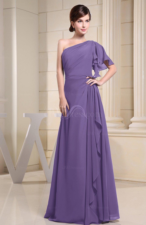 22a6bdc55a98 Lilac Plain A-line Short Sleeve Half Backless Floor Length Ruffles  Bridesmaid Dresses (Style D92113)