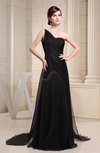 Elegant Asymmetric Neckline Zip up Chiffon Brush Train Prom Dresses