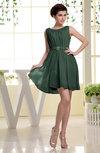 Simple A-line Sabrina Zip up Mini Sash Prom Dresses