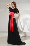 Classic V-neck Short Sleeve Zip up Chiffon Brush Train Prom Dresses