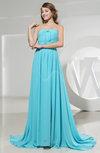 Romantic Strapless Sleeveless Zipper Court Train Prom Dresses
