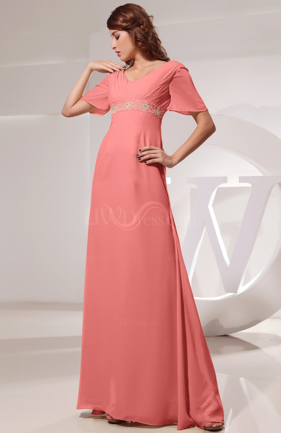 313db04568f Coral Vintage Short Sleeve Chiffon Floor Length Ruching Prom Dresses (Style  D10924)