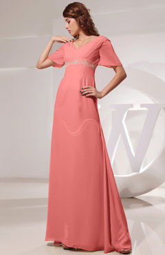 2946027e546 Coral Vintage Short Sleeve Chiffon Floor Length Ruching Prom Dresses