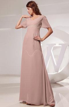 72b935be7cb Dusty Rose Vintage Short Sleeve Chiffon Floor Length Ruching Prom Dresses