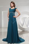 Modest A-line Square Zipper Chapel Train Ruching Evening Dresses