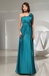 Modest Empire Asymmetric Neckline Sleeveless Floor Length Flower Prom Dresses