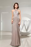 Modest Column Halter Zip up Appliques Evening Dresses