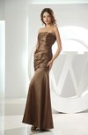 Sexy Column Strapless Backless Silk Like Satin Ruching Prom Dresses