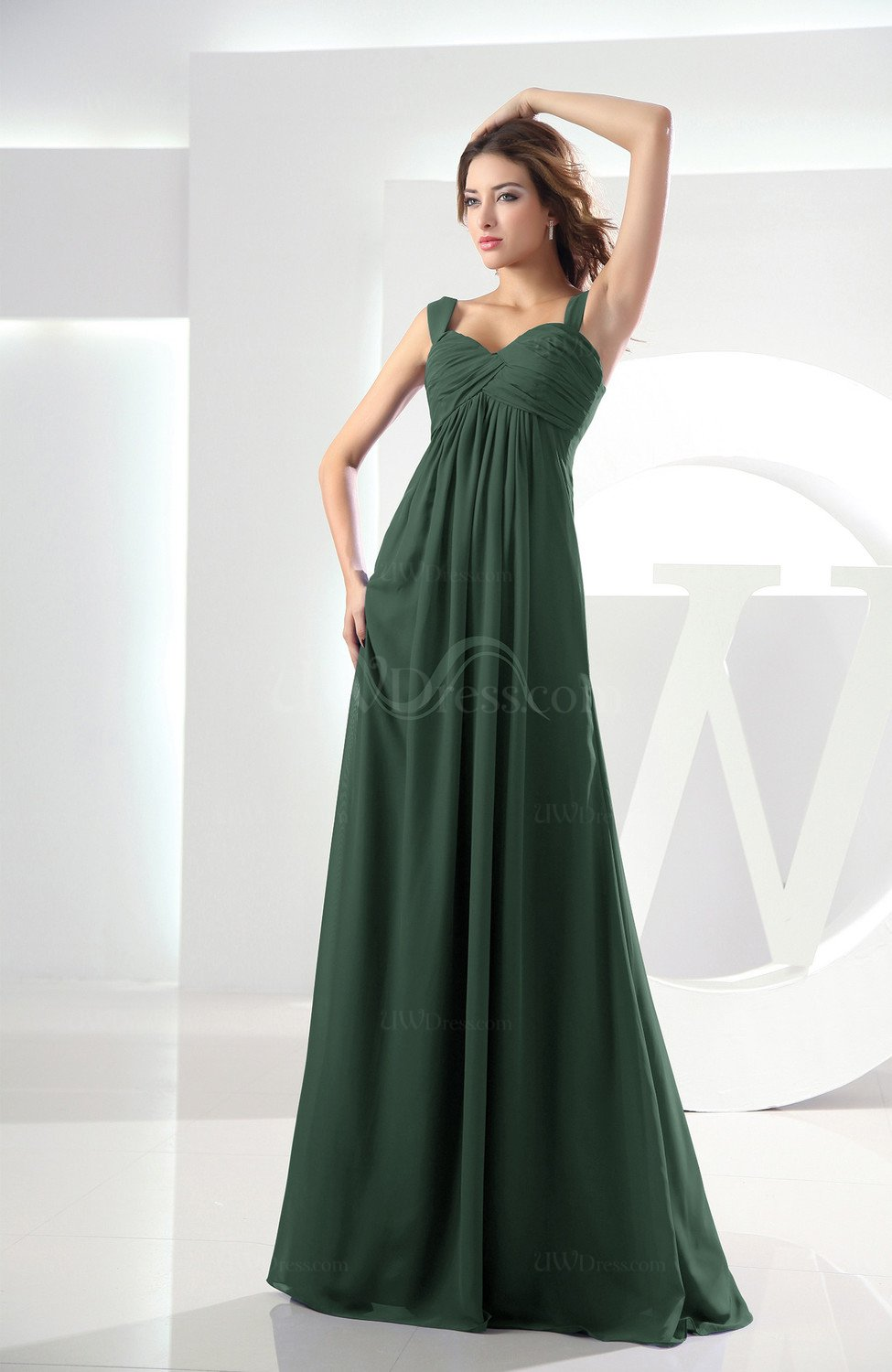 Hunter Green Casual Empire Zipper Chiffon Floor Length Ruching Bridesmaid  Dresses (Style D92678) f6d3946ff80a