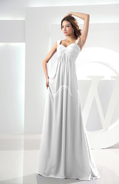 eaa3b731234 White Casual Empire Zipper Chiffon Floor Length Ruching Bridesmaid Dresses