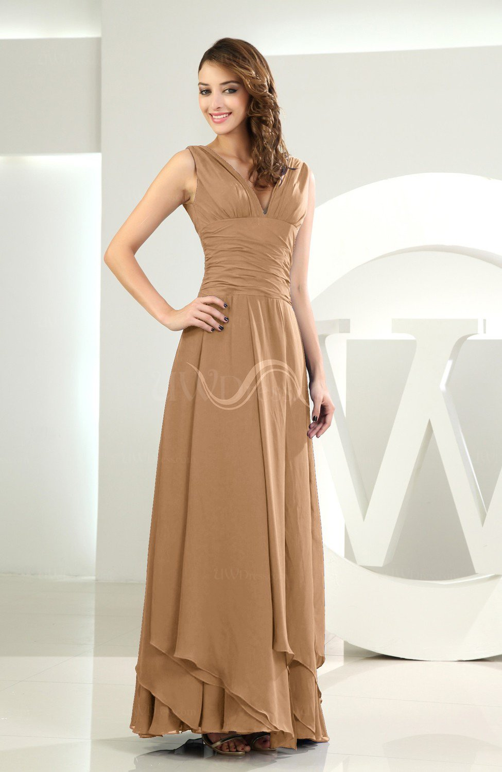 Light Brown Simple A Line V Neck Sleeveless Chiffon Wedding Guest Dresses