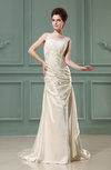 Antique Outdoor Sleeveless Zipper Elastic Woven Satin Court Train Ruching Bridal Gowns