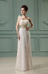 Modest Garden Sheath Asymmetric Neckline Sleeveless Lace Bridal Gowns