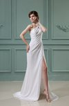 Sexy Column Asymmetric Neckline Sleeveless Court Train Evening Dresses