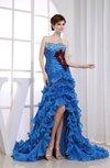 Glamorous A-line Zipper Organza Chapel Train Feather Party Dresses