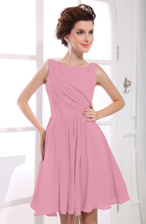 dcb135c6b3b9 Light Coral Casual A-line Sabrina Zipper Chiffon Ruching Party Dresses  (Style D66281)