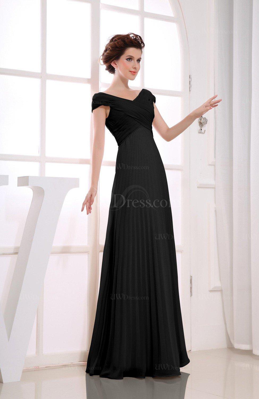 31263fea7af Black Vintage Empire Short Sleeve Zipper Chiffon Floor Length Bridesmaid  Dresses (Style D73928)