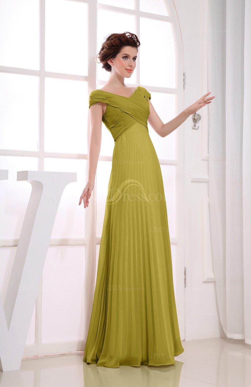 bdef205e4522 Golden Olive Vintage Empire Short Sleeve Zipper Chiffon Floor Length  Bridesmaid Dresses (Style D73928)
