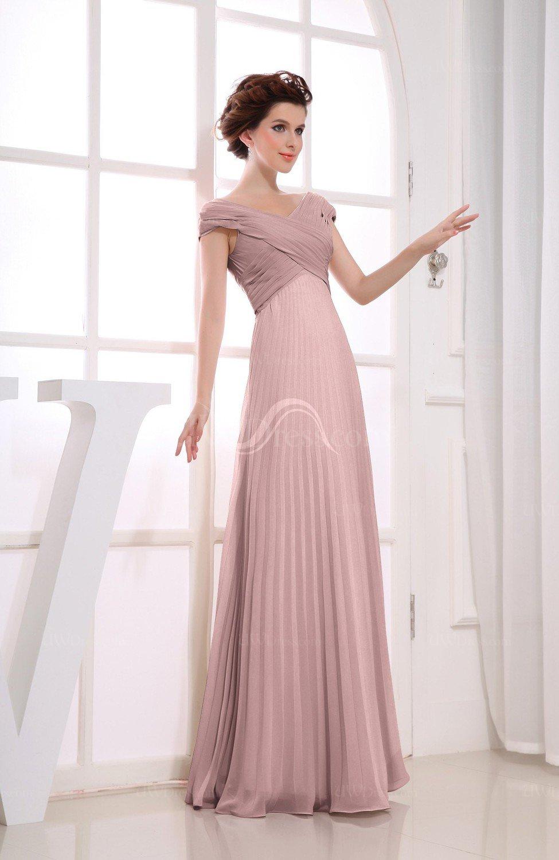 f46d43c06a40e Silver Pink Vintage Empire Short Sleeve Zipper Chiffon Floor Length  Bridesmaid Dresses (Style D73928)