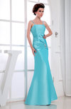 Plain Backless Taffeta Floor Length Beaded Bridesmaid Dresses