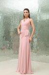 Elegant Halter Sleeveless Backless Chiffon Brush Train Bridesmaid Dresses