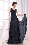 Elegant A-line Sleeveless Zip up Chiffon Floor Length Evening Dresses