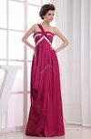 Casual Asymmetric Neckline Sleeveless Zip up Chiffon-Satin Floor Length Evening Dresses