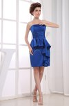 Elegant Strapless Zipper Satin Mini Ruffles Graduation Dresses
