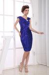 Modest Portrait Zip up Elastic Woven Satin Knee Length Party Dresses