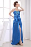 Informal Empire Spaghetti Elastic Woven Satin Floor Length Ruching Prom Dresses