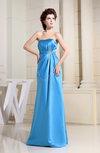 Simple Strapless Zipper Satin Floor Length Sash Prom Dresses