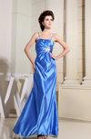 Modest A-line Spaghetti Sleeveless Satin Floor Length Evening Dresses