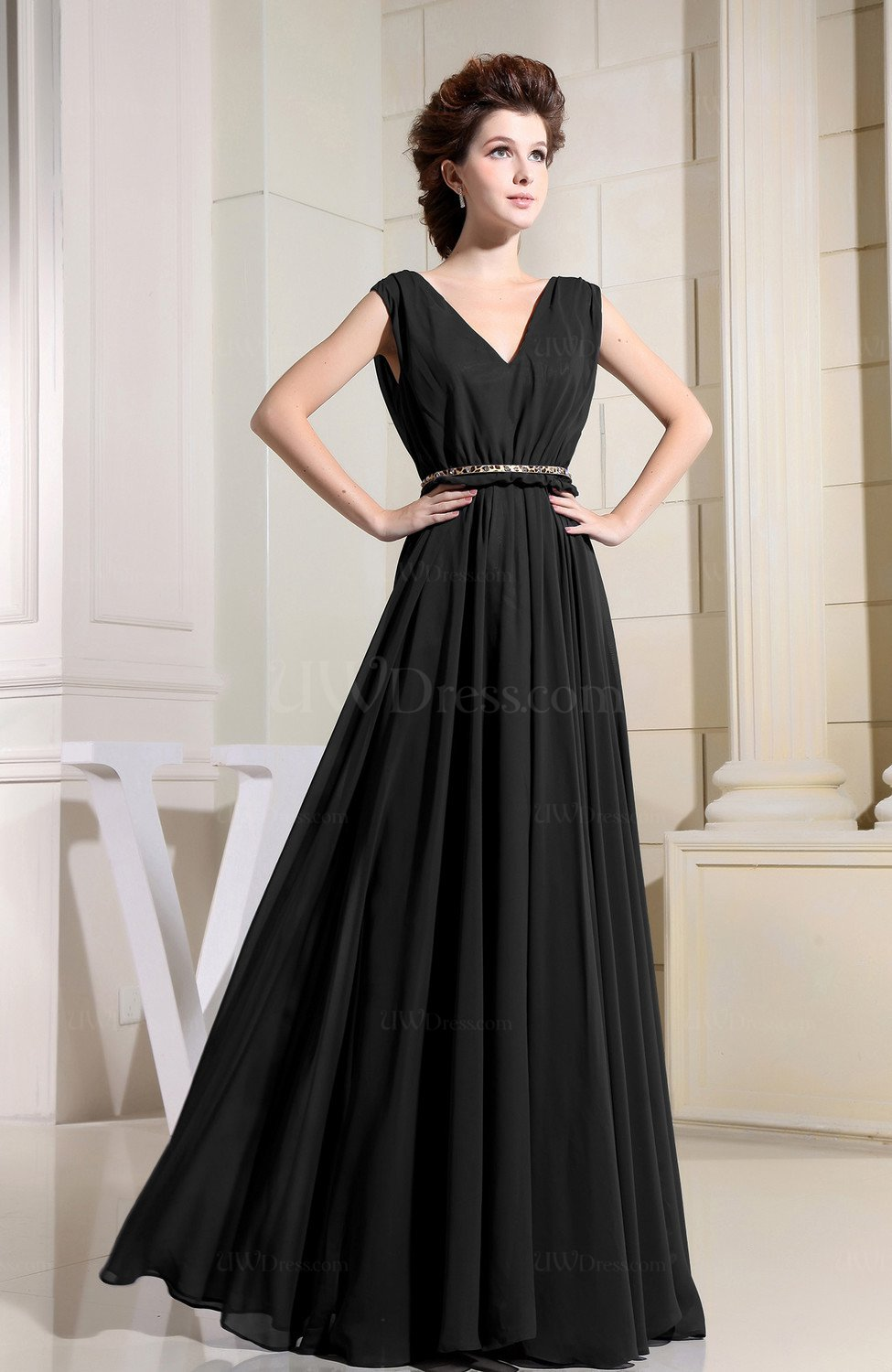 152d6df2910 Black Casual V-neck Sleeveless Chiffon Pleated Bridesmaid Dresses (Style  D37046)