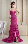 Romantic Zip up Chiffon Chapel Train Rhinestone Prom Dresses