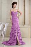 Romantic Zip up Chiffon Chapel Train Rhinestone Prom Dresses