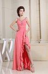 Modern Sleeveless Zip up Chiffon Floor Length Rhinestone Graduation Dresses
