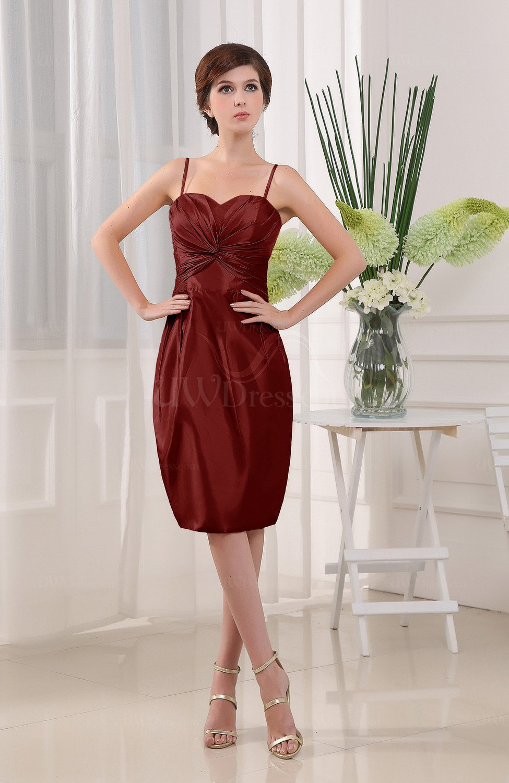 00a6f6f00b0 Burgundy Plain Sheath Sleeveless Zip up Knee Length Ruching Mother of the  Bride Dresses (Style D64656)