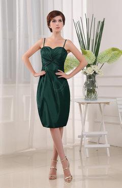 2356c1792dc Dark Green Plain Sheath Sleeveless Zip up Knee Length Ruching Mother of the  Bride Dresses
